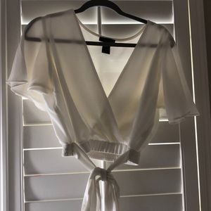 White Cropped Tie Top